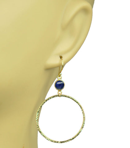 Image of Lapis Lazuli Bezel Circle Earrings