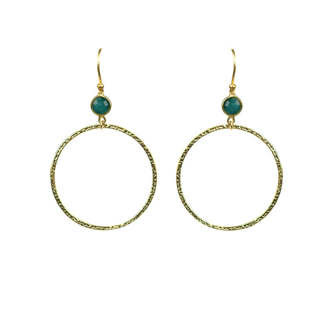Emerald Bezel Circle Earrings