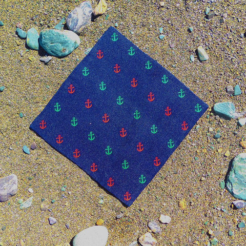 Anchor Pocket Square - Port & Starboard, Woven Silk
