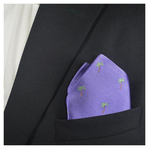 Palm Tree Pocket Square - Purple
