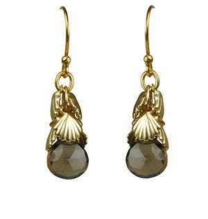 Shell Cluster Smoky Topaz Earrings
