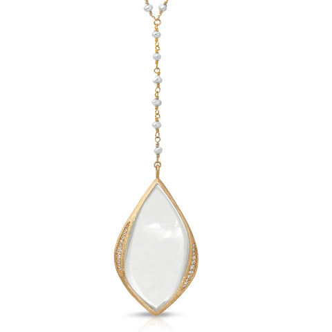 Willow Gold Freshwater Pearl- Magnifier Pendant Necklace