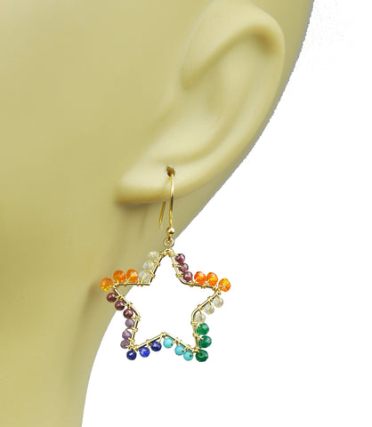 Chakra Star and Moon Vermeil Earrings