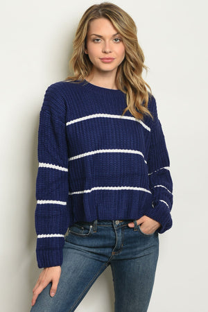 Navy With Stripes Sweater