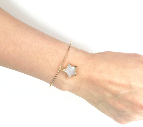 Image of Moonstone Star Adjustable Bangle Bracelet