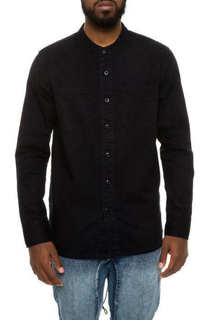 High-Low Fishtail Monk Collar Button Down