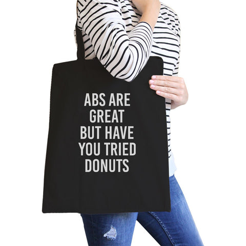 Image of Abs Are Great But Black Canvas Bag Funny Workout Quote Fitness Bag