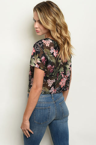 Womens Black Floral Top