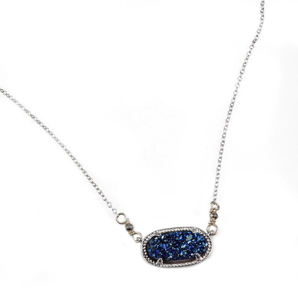 Alicia Oval Druzy Necklace in Silver
