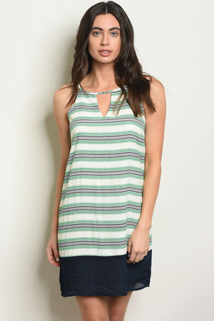 Womens Green Navy Stripes Dress