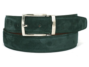 PAUL PARKMAN Men's Green Suede Belt (ID#B06-GREEN)