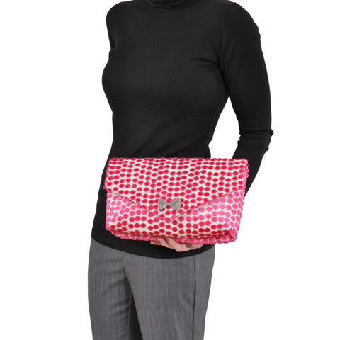 Image of Polka Dot Pink envelope clutch