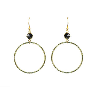 Black Spinel Bezel Circle Earrings