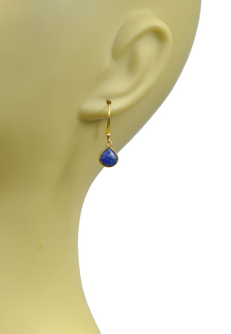 Lapis Lazuli Bezel Vermeil Earrings