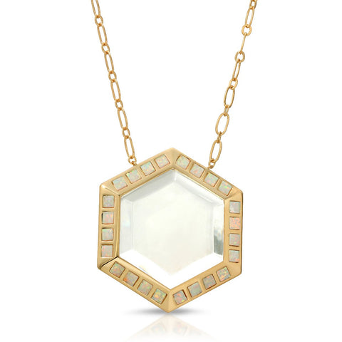 Image of Isis Gold White Opal - Magnifier Pendant Necklace
