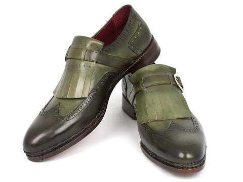 Image of Paul Parkman Men's Wingtip Monkstrap Brogues Green  Leather Upper With Double Leather Sole (ID#060-GREEN)