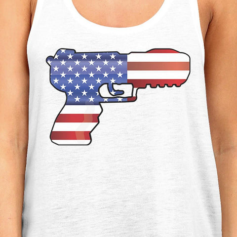 Image of American Flag Pistol Womens Tank Top Gifts For Gun Supporters