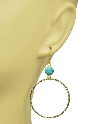 Amazonite Bezel Circle Earrings