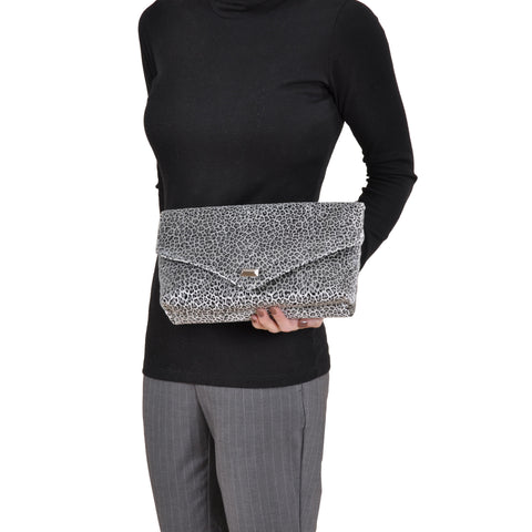Image of Leopard Silver envelope clutch