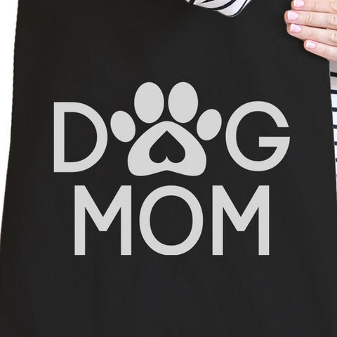 Image of Dog Mom Black Washable Cute Graphic Canvas Tote Bag For Dog Lovers