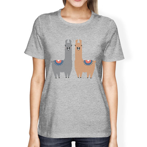 Llama Pattern Womens Cute Design Funny Winter Gift T-Shirt For Her