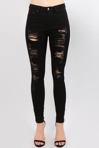Image of Distressed Track Jeans