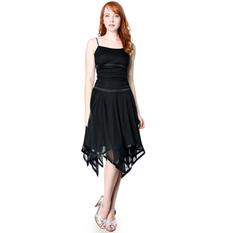 Image of Evanese Womens Romantic Polyester Sheer A Line Cocktail Dress with Satin Trim
