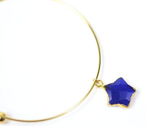Lapis Lazuli Star Adjustable Bangle Bracelet