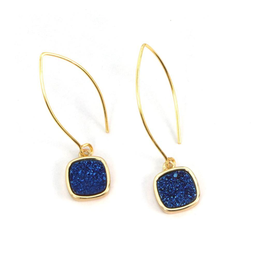 Mia Druzy Square Gold Marquise Earrings