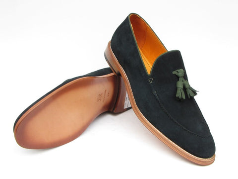 Image of Paul Parkman Men's Tassel Loafer Green Suede Shoes (ID#087-GREEN)