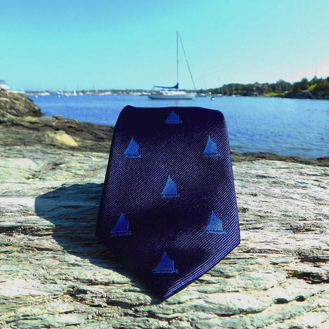 Image of Sailboat Necktie - Navy, Woven Silk