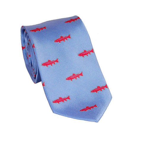 Trout Necktie - Light Blue, Woven Silk