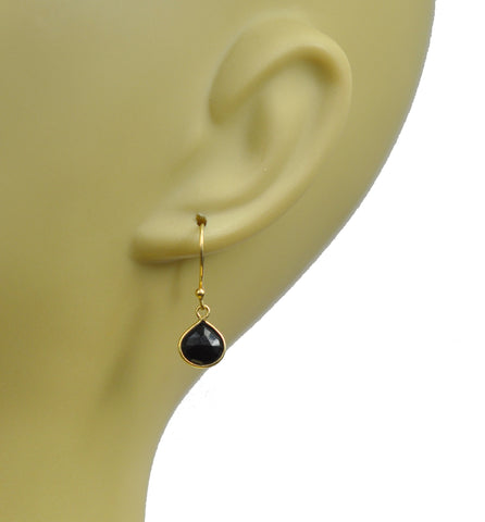 Black Spinel Bezel Vermeil Earrings