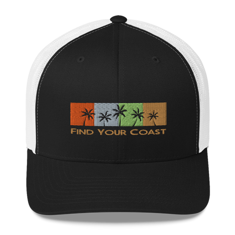 Find Your Coast Palm Season Mid-Profile Trucker Hat