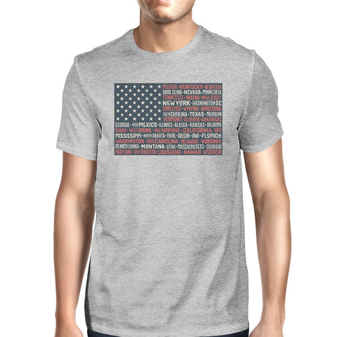 50 States US Flag American Flag Shirt Mens Gray Cotton Graphic Tee