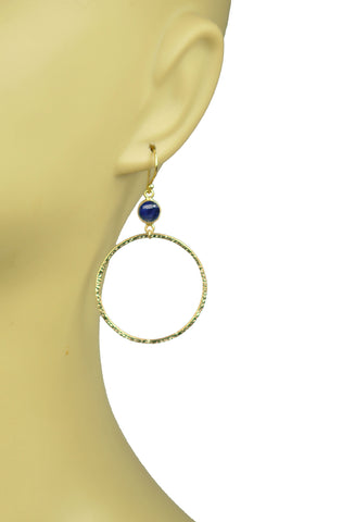 Lapis Lazuli Bezel Circle Earrings