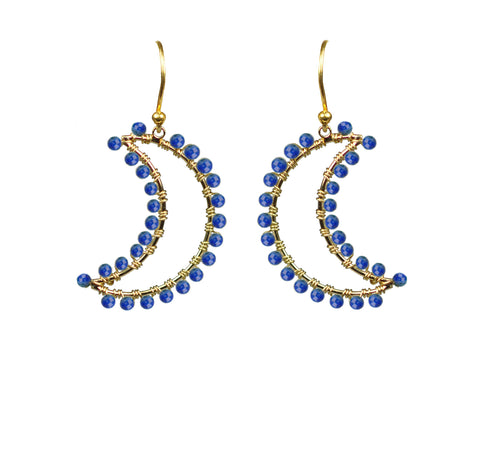 Image of Lapis Lazuli Crescent Moon Earrings