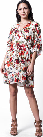 Image of Wanderlux Women's Marrakesh Floral Print Faux Wrap Midi Dress