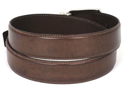 PAUL PARKMAN Men's Leather Belt Hand-Painted Brown (ID#B01-ANTBRW)