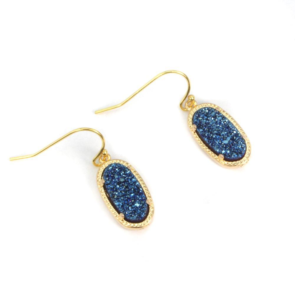 Alicia Oval Druzy Earrings in Gold