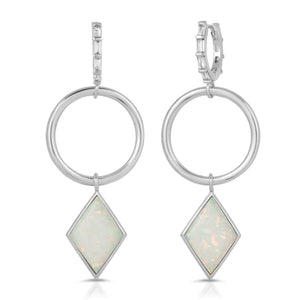 Trinity Silver White Opal Earrings