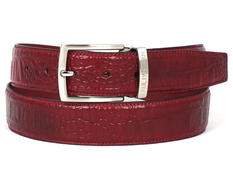 PAUL PARKMAN Men's Croc Embossed Calfskin Belt Burgundy (ID#B02-BUR)