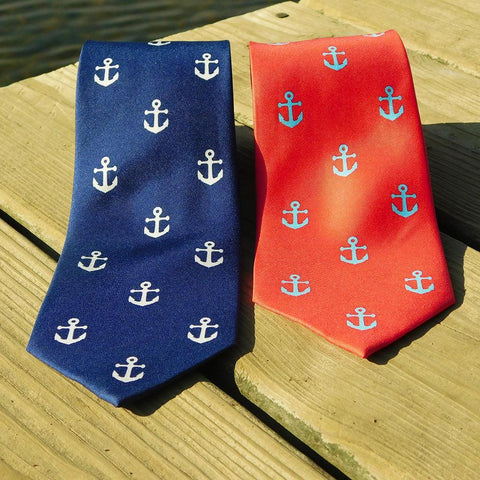 Anchor Necktie - Navy, Printed Silk