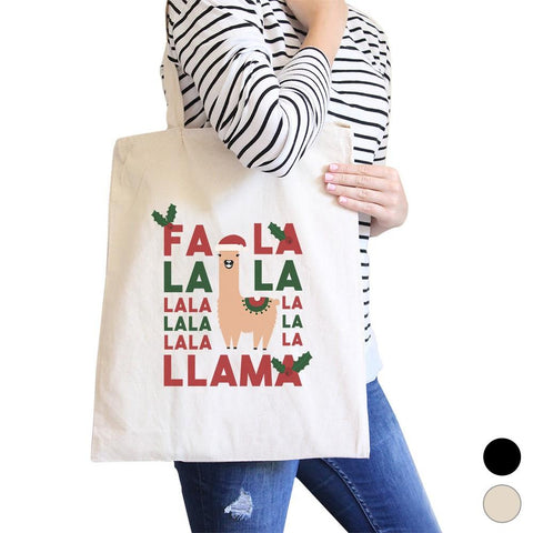 Image of Falala Llama Canvas Shoulder Bag Cute Christmas Gift Tote For Teens