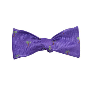 Palm Tree Bow Tie - Purple, Woven Silk