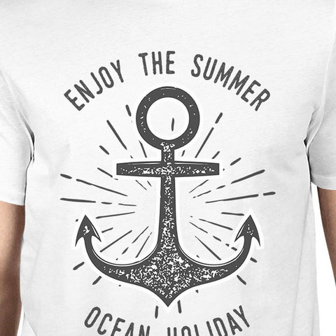 Image of Enjoy The Summer Ocean Holiday Mens White Shirt
