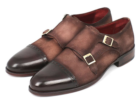 Image of Paul Parkman Men's Double Monkstrap Captoe Dress Shoes - Brown / Beige Suede Upper and Leather Sole (ID#FK09)