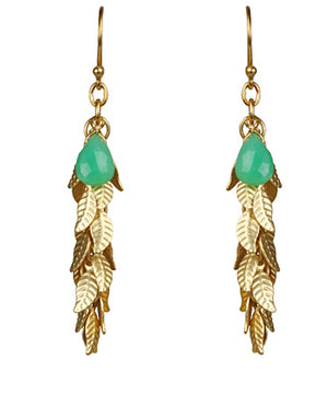Leaf Cascade Cluster Chrysophrase Earrings