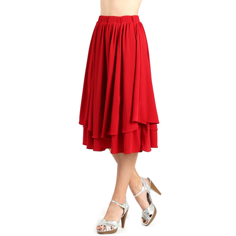 Evanese Women's Double Layer Contemporary A-line Godet Skirt with Elastic Waist