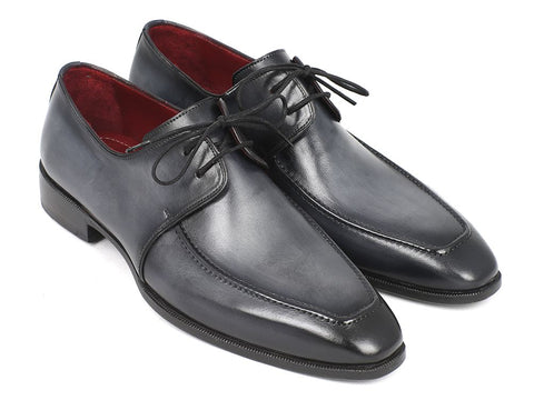 Image of Paul Parkman Gray & Black Apron Derby Shoes For Men (ID#13SX51)